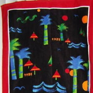 Colorful boat palm-trees ocean theme beach towel